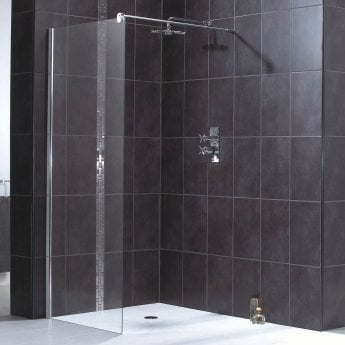 Aqualux Shine 6 Wet Room Shower Panel, 900mm Wide, 6mm Clear Glass