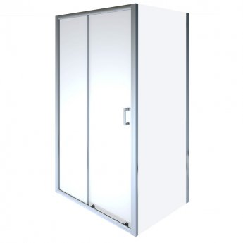 Aqualux Shine 8 Semi Frameless Sliding Shower Door 1200mm Wide Silver Frame - 8mm Glass