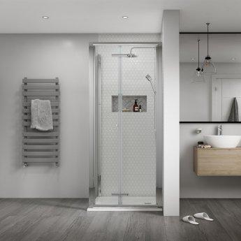 Aqualux Shine 8 Semi Frameless Bi-Fold Shower Door 900mm Wide Silver Frame - 8mm Glass