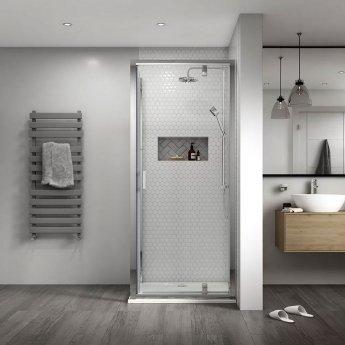 Aqualux Shine 8 Semi Frameless Pivot Shower Door 800mm Wide Silver Frame - 8mm Glass