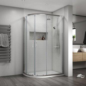Aqualux Shine 8 Offset Quadrant Shower Enclosure 1200mm x 800mm Silver Frame - 8mm Glass