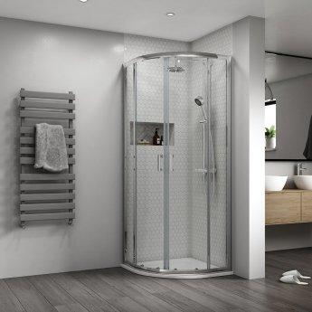 Aqualux Shine 8 Quadrant Shower Enclosure 900mm x 900mm Silver Frame - 8mm Glass