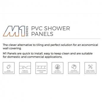Aquashine M1 Series PVC Single Shower Wall Panel 1000mm Wide - White Diamond Stone