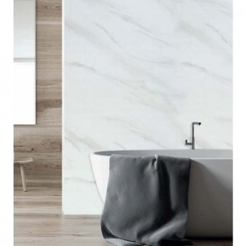 Aquashine M1 Series PVC Single Shower Wall Panel 1000mm Wide - White Marble