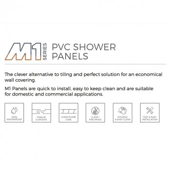 Aquashine M1 Series PVC Single Shower Wall Panel 1200mm Wide - White Diamond Stone