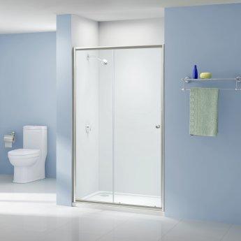 Aquashine Sliding Shower Door 1100mm Wide - 6mm Glass