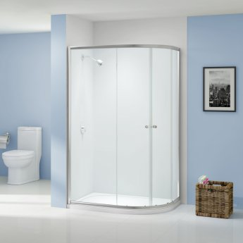 Aquashine Offset Quadrant Shower Enclosure 1200mm x 800mm - 6mm Glass