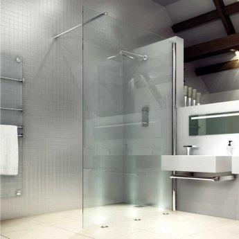 Aquashine Wet Room Glass Panel 800mm Wide with Horizontal Bracing Bar - Clear Glass