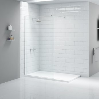 Aquashine Wet Room Glass Shower Panel 300mm Wide - 8mm Glass