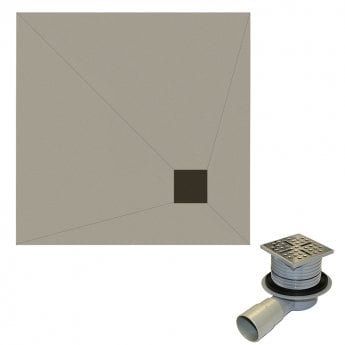 Aquashine Square Wetroom Floor Former with Corner Waste and Drain 1000mm x 1000mm