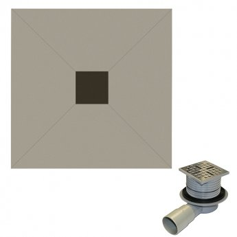 Aquashine Square Wetroom Floor Former with Centre Waste and Drain 1000mm x 1000mm