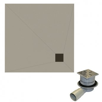 Aquashine Square Wetroom Floor Former with Corner Waste and Drain 1200mm x 1200mm