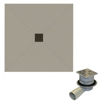 Aquashine Square Wetroom Floor Former with Centre Waste and Drain 1200mm x 1200mm