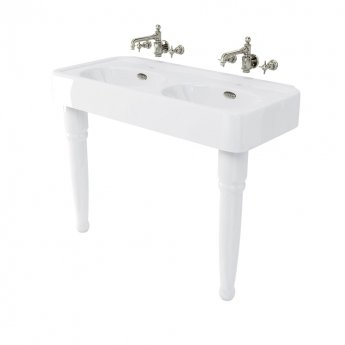 Arcade Double Basin 1200mm Wide with Ceramic Console Legs - 0 Tap Hole
