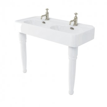 Arcade Double Basin 1200mm Wide with Ceramic Console Legs - 1 Tap Hole