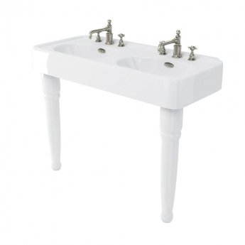 Arcade Double Basin 1200mm Wide with Ceramic Console Legs - 3 Tap Hole