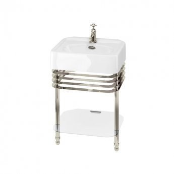 Arcade Basin 600mm Wide and Stand with Glass Shelf - 1 Tap Hole