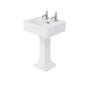 Arcade Basin 600mm Wide with Full Pedestal - 2 Tap Hole