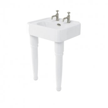 Arcade Basin 600mm Wide with Ceramic Console Legs - 2 Tap Hole