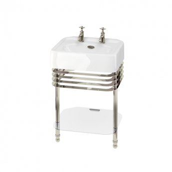 Burlington Arcade Basin 600mm Wide and Stand with Glass Shelf - 2 Tap Hole
