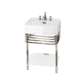 Arcade Basin 600mm Wide and Stand with Glass Shelf - 3 Tap Hole