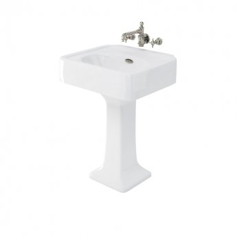 Arcade Basin 600mm Wide with Full Pedestal - 0 Tap Hole