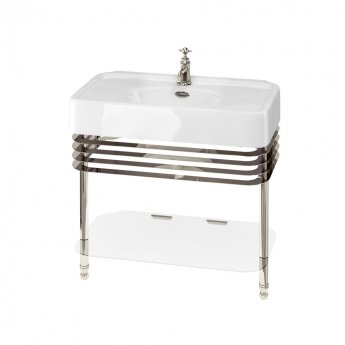 Arcade Basin 900mm Wide and Stand with Glass Shelf - 1 Tap Hole