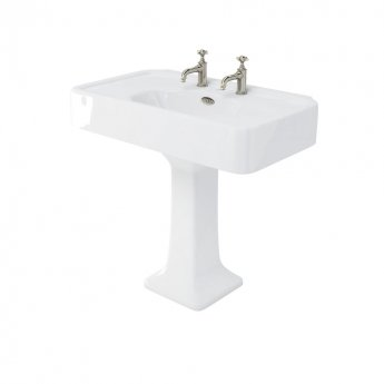 Arcade Basin 900mm Wide with Full Pedestal - 2 Tap Hole