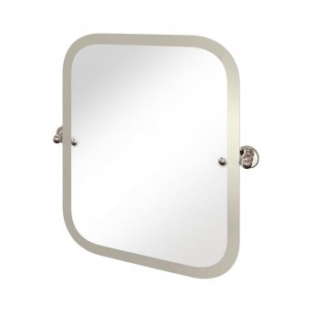 Arcade Swivel Mirror with Nickel Plated Brass Wall Mounts - Rectangular