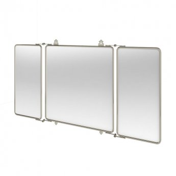 Arcade Three Fold Bathroom Mirror with Nickel Plated Brass Frame - Rectangular