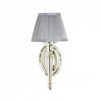 Arcade Oval Base Bathroom Light 330mm H x 156mm W - Nickel/Silver Chiffon Shade