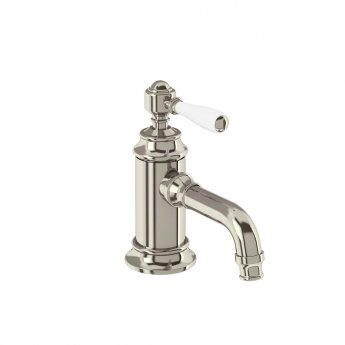 Arcade Single Lever Basin Mixer Tap with White Ceramic Lever - Nickel