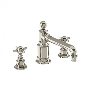 Arcade 3-Hole Deck Mounted Basin Mixer Tap with Tap Handle - Nickel