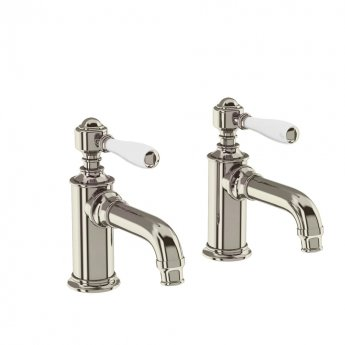 Arcade Basin Pillar Taps Pair with White Ceramic Lever - Nickel