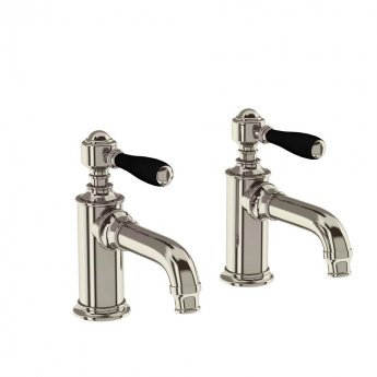 Arcade Basin Pillar Taps Pair with Matt Black Lever - Nickel