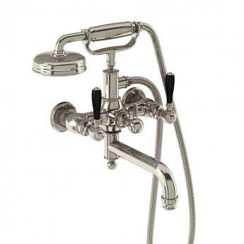 Arcade Wall Mounted Bath Shower Mixer Tap with Matt Black Lever - Nickel