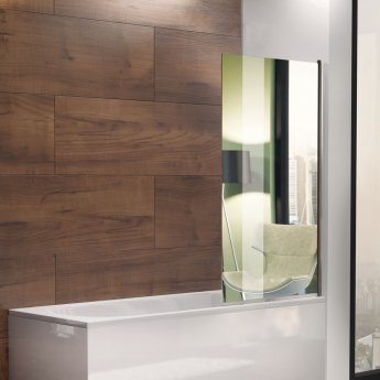 Arley Avon Single Square Mirror Bath Screen 1380mm High x 800mm Wide - 4mm Glass