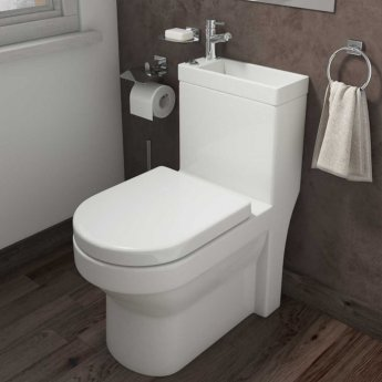 Arley Integrated Combi Close Coupled Toilet and Basin with Basin Mixer Tap - Soft Close Seat