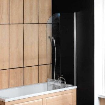 Arley Ralus6 Single Curved Hinged Bath Screen 1400mm High x 800mm Wide - 6mm Glass