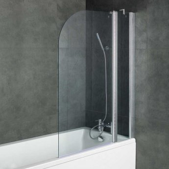 Arley Ralus6 Two Panel Curved Bath Screen 1400mm High x 1000mm Wide - 6mm Glass