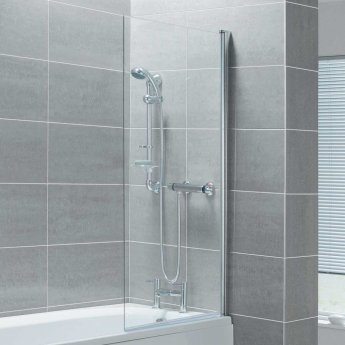 Arley Ralus6 Single Square Bath Screen 1400mm High x 800mm Wide - 6mm Glass