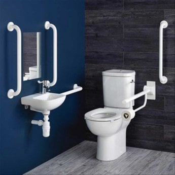 Armitage Shanks Contour 21 Ambulant Care Doc M Pack with CC Disabled Toilet and Basin