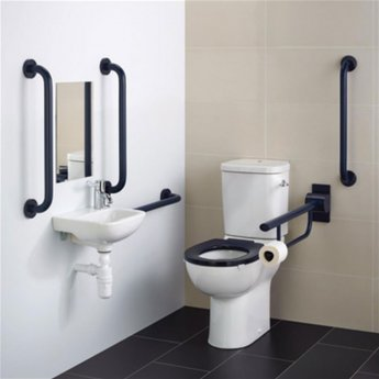 Armitage Shanks Contour 21 Doc M Pack with Close Coupled Toilet and Charcoal Rail - Left Handed