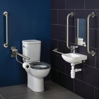 Armitage Shanks Contour 21 Doc M Pack with Close Coupled Toilet and Stainless Steel Rails - Right Handed