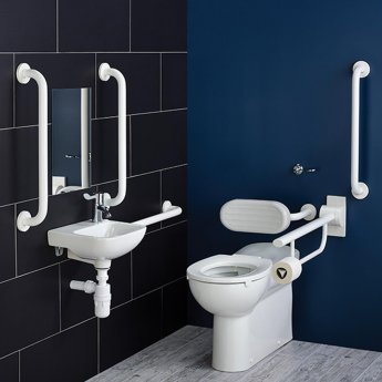 Armitage Shanks Contour 21 Doc M Pack with BTW Disabled Toilet and Basin - White