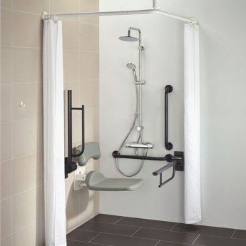 Armitage Shanks Contour 21 Doc M Pack with TMV3 Exposed Shower Valve and Dual Shower Kit - Blue Rails