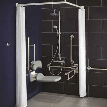 Armitage Shanks Contour 21 Doc M Pack with TMV3 Exposed Shower Valve and Dual Shower Kit - Stainless Steel Rails