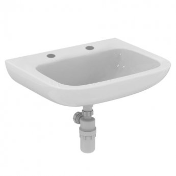 Armitage Shanks Portman 21 Wall Hung Basin No Overflow 600mm Wide - 2 Tap Hole