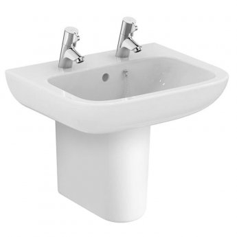 Armitage Shanks Portman 21 Basin with Semi Pedestal 500mm Wide - 2 Tap hole