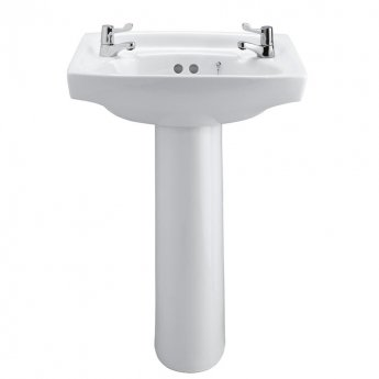 Armitage Shanks Royalex Basin with Full Pedestal 510mm Wide  - 2 Tap Hole
